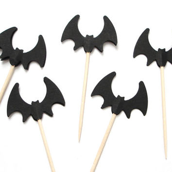 24 Halloween Black Bat Party Picks, Toothpicks, Cupcake Toppers, Food Picks - No763