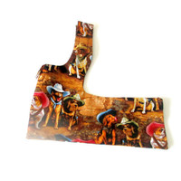 Little Dogs' and Cats' Harness Cotton for Small Dog Made to Order - Multicolored Print of Dogs Wearing Cowboy Hats (Irresistible)