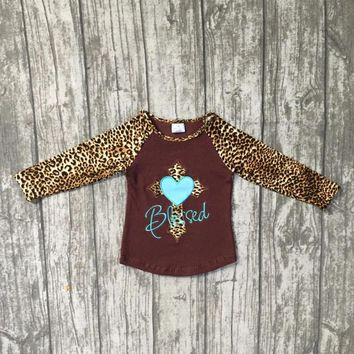 Fall/winter raglans baby girls boutique T-shirt kids wear top cotton milk silk clothes brown Leopard heart blessed long sleeve