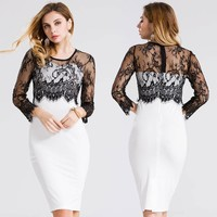Women's Fashion Lace Hollow Out Patchwork Summer One Piece Dress [10016913741]