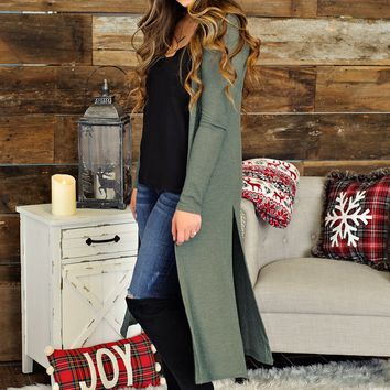 * Its Already Crazy Waffle Knit Cardigan Duster: Olive