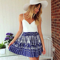 White & Blue Floral Print Spaghetti Strap Dress