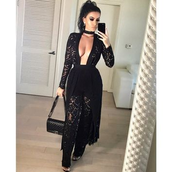 3 Pieces Set Hot Sexy Hollow Out Lace Long Sleeve Dress