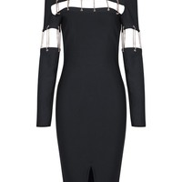 Honey Couture KERRY Black Cut Out Chain Long Sleeve Midi Bandage Dress