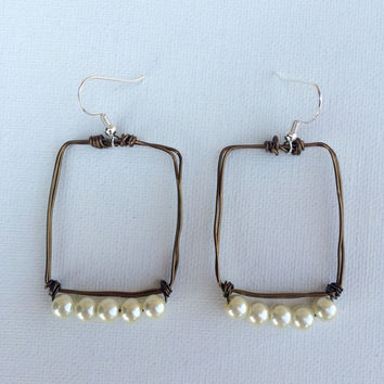 Creme color classic white pearl square dangle earrings made with brown brass color copper wire wire wrapped earrings pearl earrings