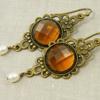 Amber Long Drop Earrings with Antique Brass Filigree and White Pearl
