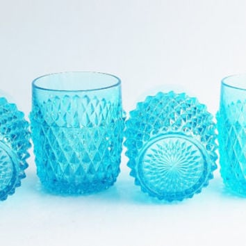 "Indiana Aqua Blue Hobnail Glasses Tumblers / ""Horizon Blue"" Diamond Point / (9 oz) ""On The Rocks"" Beverage Set / Vintage Antique Glassware"