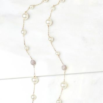 Long Pearl Rhinestone Necklace Gold