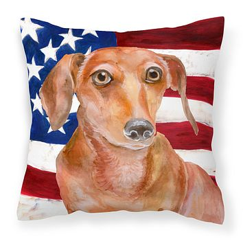 Red Dachshund Patriotic Fabric Decorative Pillow BB9707PW1414