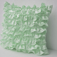 Mint Green Satin Ruffles Pillow Cover For Cute Girly Decor