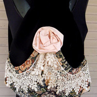 Backpack Victorian Lace, Tapestry and Rose  Mori Girl  Black Velvet Backpack   Pocket  Silk Handmade Rose  Black Velvet Victorian