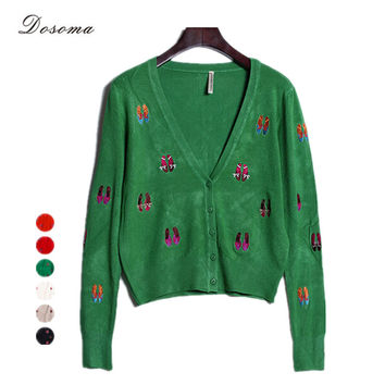 6 Colors 2016 Spring/Autumn Fashion Women Cardigan Casual Shoes Embroidery Women Cardigan Blazers Full Sleeve Knitted Cardigan