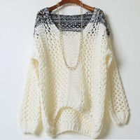 CONTRAST COLOR FASHION HOLLOW OUT SWEATER