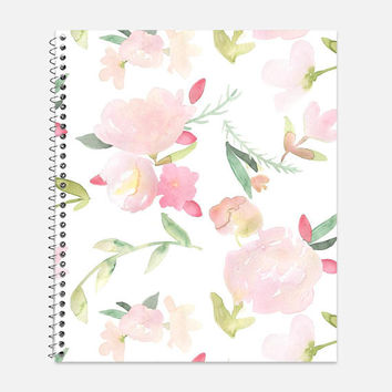 Beautiful Pink Peonies Flower Notebook, Waterproof Cover, Floral Notebook or Journal, Office Supplies, School Supplies, College Ruled