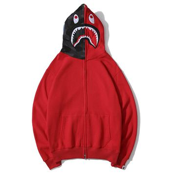 BAPE sells shark embroidery camouflage patchwork hats zipper jackets with fleece stylish couple casual tops Red