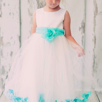 Flower Girls Satin & Tulle Petal Dress w. Removable Organza Sash 3m-14