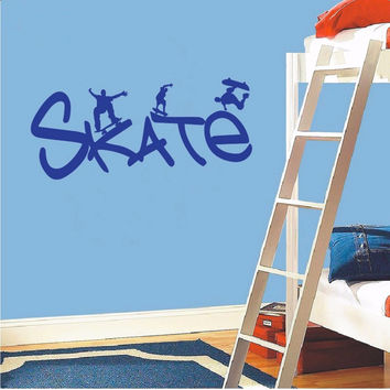 Skate Wall stickers Boys Rome Decor Removable Vinyl Wall Art Decal
