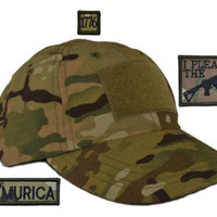 USA Made Tactical Operator Cap with I Plead the 2nd Second Amendment Patch Set - One Size Adjustable - Multicam