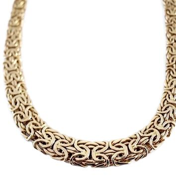 Vintage 14k Gold Byzantine Necklace Wide Heavy Link 19.8g