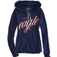 AEO Women's Graphic Hoodie T-shirt (Major Navy)