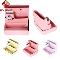 2016 New  DIY Paper Board Storage Box Desk Decor School Office Supply Stationery Makeup Cosmetic Organizer Bag Color Random 2Pcs