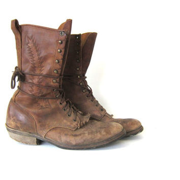 Vintage brown leather boots. Lace Up Ropers. Western Boots. Worn In Country Boots. men's Boots
