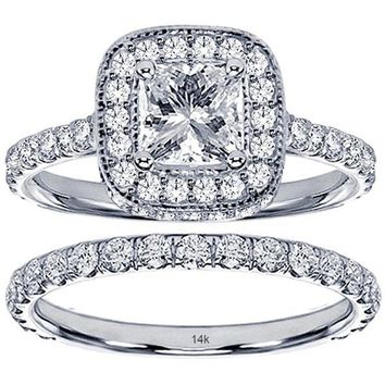 GIA CERTIFIED | 2.42 CT TW Pave Set Diamond Encrusted Princess Cut Engagement Bridal Set in 14k White Gold (VS2-SI1, F-G)
