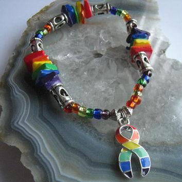"""Gay Pride Bracelet (156)  6 1/2"""", colorful, gay marriage, LGBT support, Over the Rainbow Collection, Unique Visions by Jen"""