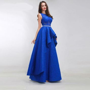 Royal Blue Prom Dresses for Women Sleeveless Simple See-through Lace Tiered Floor Length Formal Long Dress Party Gown