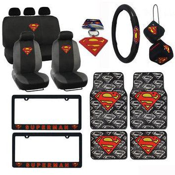 Licensed Official New Superman Car Truck Seat Covers Floor Mats Steering Wheel Full Interior Set