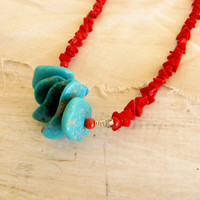 Turquoise Arizona Sleeping Beauty Red Coral  Turquoise Sterling Silver Necklace Wire Wrapped Southwestern  Handmade Jewelry