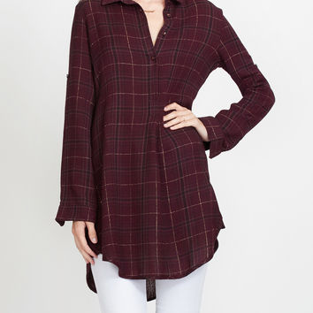 LE3NO Womens Relaxed Soft Plaid Flannel Shirtdress (CLEARANCE)