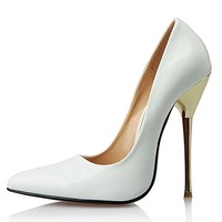 Leeminus Women's Artificial Leather Sexy Pointed Toe Metal Heels Pump Shoes White 15 B(M) US