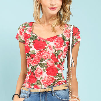 Flower Pattern Side Shirring Top