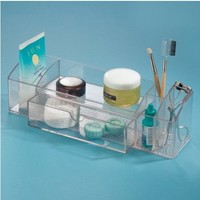 InterDesign Med+ Bathroom Medicine Cabinet Organizer, for Makeup, Contact Lenses, Solution, Cotton Balls - Clear
