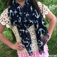 Navy Anchor Lightweight Scarf   Free Shipping   Marley Lilly