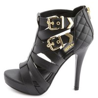 Quilted Strappy Buckled Platform Heels by Charlotte Russe - Black