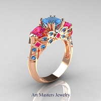 Classic 18K Rose Gold Three Stone Princess Blue Topaz Pink Sapphire Solitaire Engagement Ring R500-18KRGPSBT