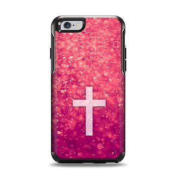 The Vector White Cross v2 over Unfocused Pink Glimmer Apple iPhone 6 Otterbox Symmetry Case Skin Set