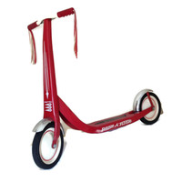 Vintage Radio Flyer-Scooter-Vintage Toy-Red Metal Scooter-Kids Retro Toy-Tassels-1950's Toy-Chrome Fenders