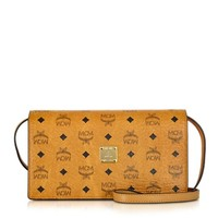 MCM Designer Handbags Color Visetos Cognac Large Crossbody Wallet