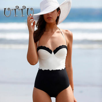 UTTU Scalloped Push Up One Piece Swimsuit Women Patchwork High Cut Monokini White Strappy Swimwear Beach Body Suit Swimming Wear