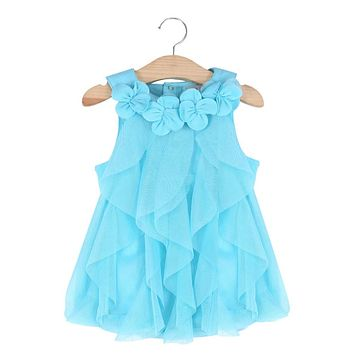 Pure Color Baby Girls Dress Cute Flower Turn Down Collar Sleeveless Mesh Kids Summer Clothes Baby Girls Dress Princess Clothes