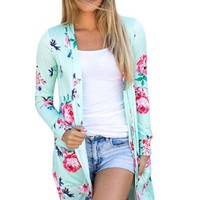 Mint Long Sleeve Floral Cardigan