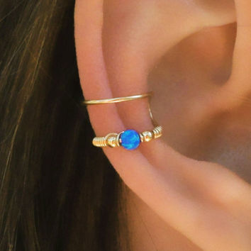 Dark Blue Opal Ear Cuff, Ear Cuff, Fake Piercing, No Piercing, Double Cuff, Cartilage Cuff, Cuff, DOUBLE WRAP CUFF
