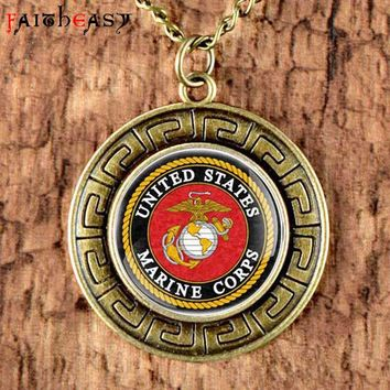 Bronze USMC Pendant Men's Necklace