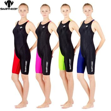 HXBY one piece competition training knee length waterproof chlorine resistant women's swimwear plus size swim bathing suit
