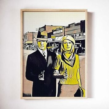 Bonnie and Clyde Movie Poster Art Canvas Print