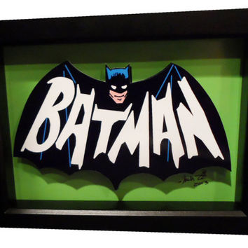 Batman Comic Art Bat Symbol 3D Pop Art 1966 logo