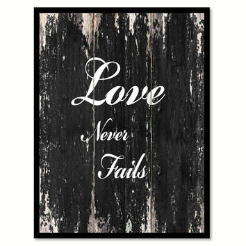 Love never fails Romantic Quote Saying Canvas Print with Picture Frame Home Decor Wall Art